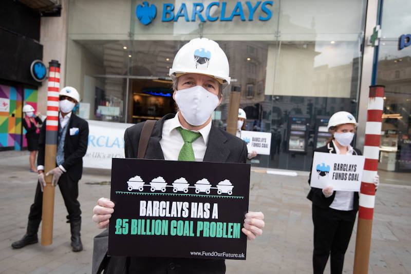 Campaigners protesting at Barclays Piccadilly branch in London