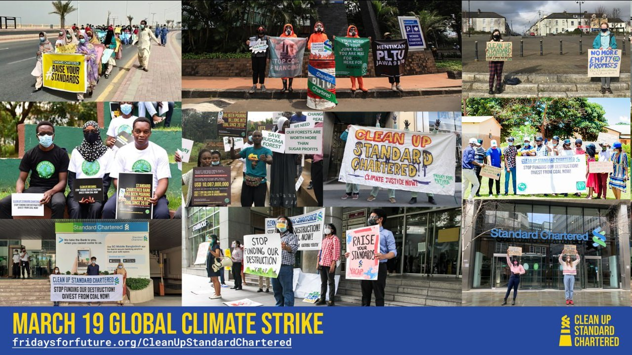 A collage of images from climate strikes